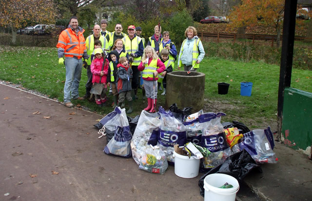 C.A.T.C.H. litter-pickers with the piles of rubbish they collected