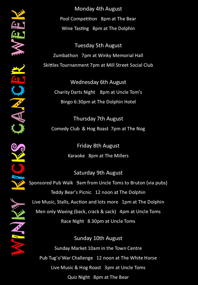 Winky Kicks Cancer week 2014 programme