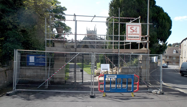 Scaffolding on the entrance gateway to the Wincanton Parish Church of St Peter and St Paul