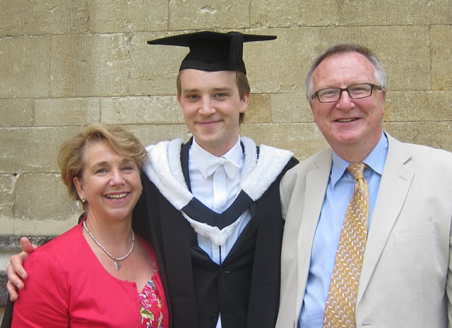 James with his parents, Jackie and Ian