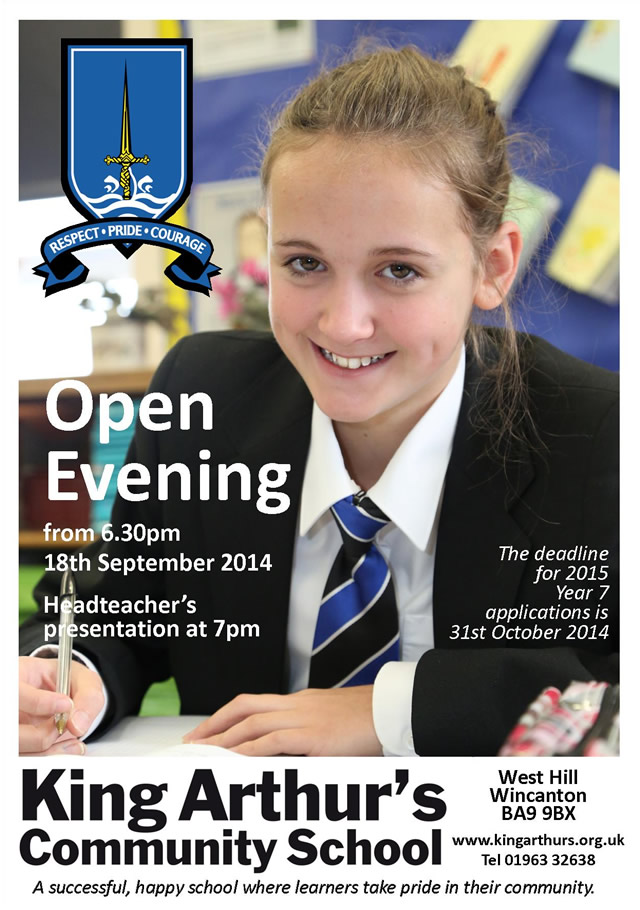 King Arthur's Community School Open Evening 2014 poster