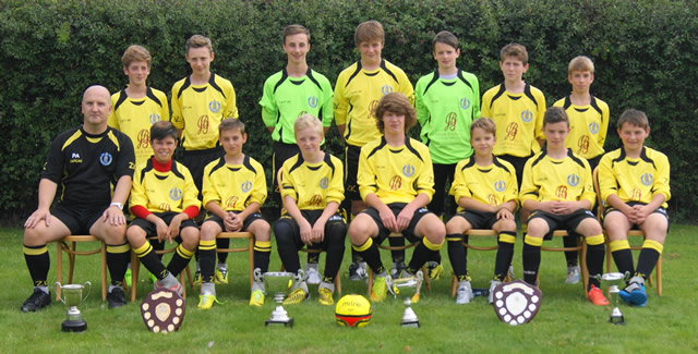 Wincanton Town Football Club Youth Section wearing their new kit, with trophies they won last season