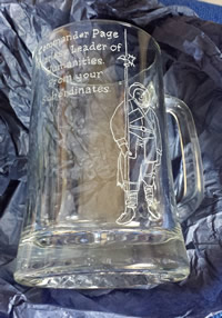 Hand-engraved glass tankard