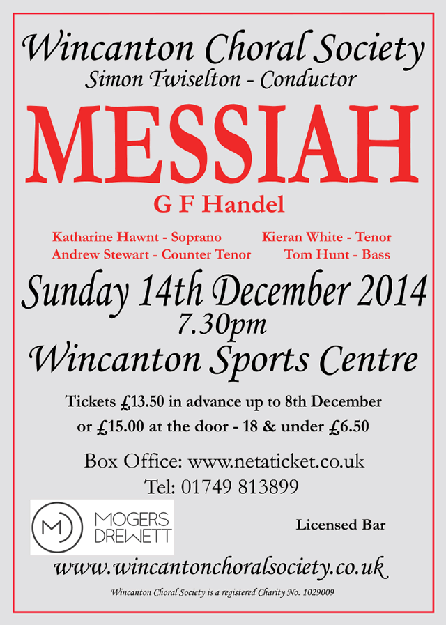 Wincanton Choral Society Winter Concert 2014 poster