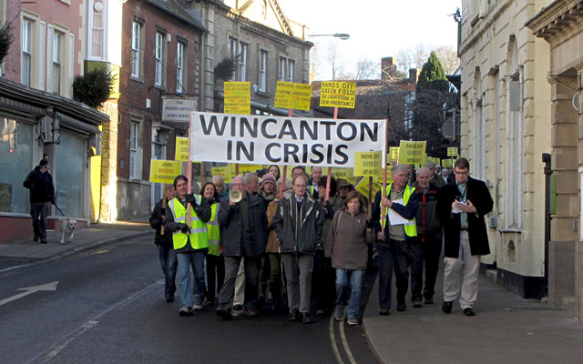 """Wincanton in Crisis"" protest march down the High Street on 6th December 2014"