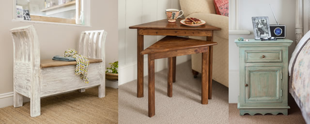 Coast Seat & Store, Chandra nest of two corner tables, Gypsy Small Cabinet
