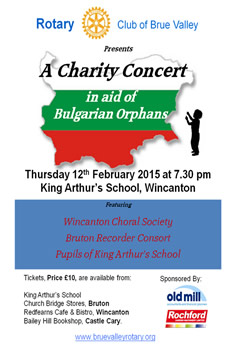 Brue Valley Rotary Club charity concert poster