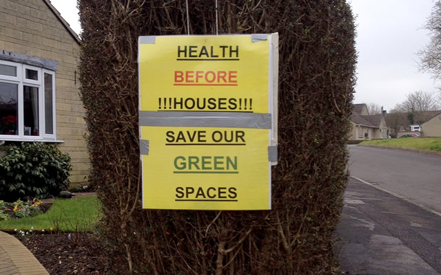 Save Our Green Spaces poster outside a residence on Dancing Lane, Wincanton