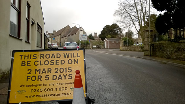 The road closure notice on Church Street earlier this week