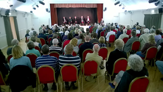 The packed Wincanton Memorial Hall, for the parliamentary hustings of April 2015