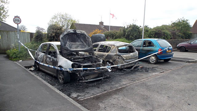 Burnt cars in Wincanton Memorial Hall car park