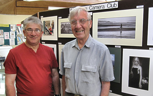Competition Secretary, Roger Lush (left) and Club Chairman, Tony Cole setting up the exhibition
