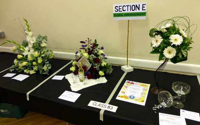 Flower arrangements at Wincanton Flower Show 2015