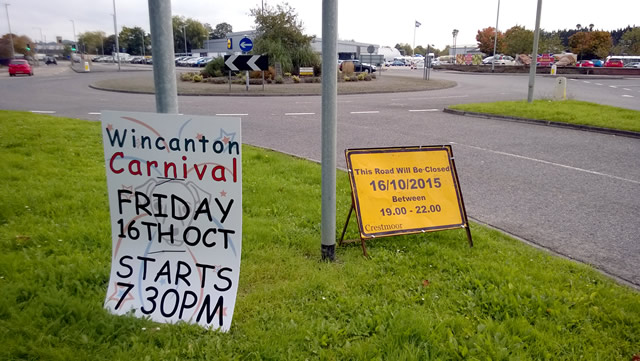 Wincanton Carnival signs near the Morissons roundabout