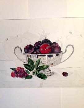 Plums in a Silver Bowl, by Lucy Jenkins
