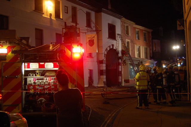 Fire crews responding to a chimney fire at The Bear Inn, Wincanton, on Christmas Eve 2015