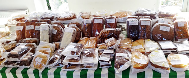 A selection of cakes at Wincanton Country Market during 2015