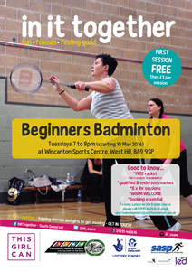 Beginners badminton for women and girls poster