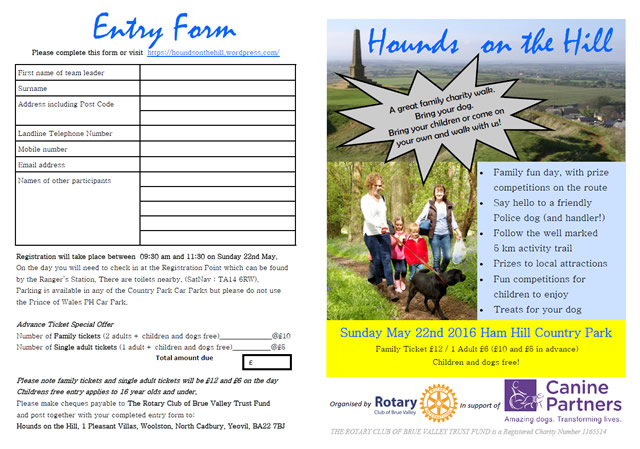 Hounds on the Hill leaflet and form