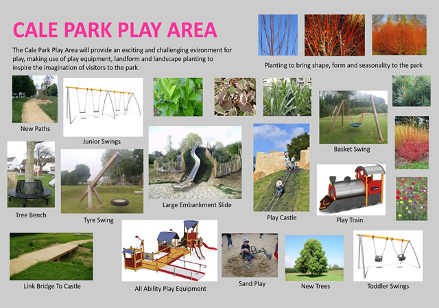 Examples of the new play equipment soon to be installed at Cale Park