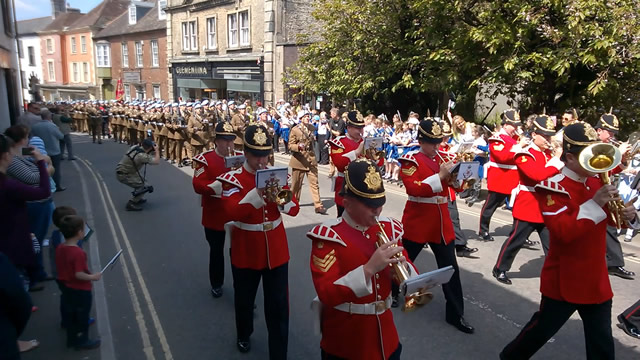 1 Regiment Army Air Corps parading up Wincanton High Street