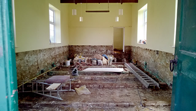 Bayford Chapel interior mid-renovation