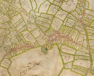 A portion of the oldest known map of Castle Cary and Ansford