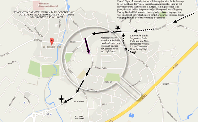 A map of the procession route of Wincanton Carnival 2016