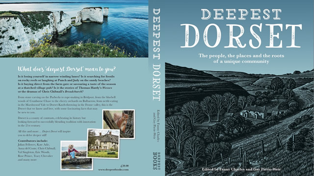 The cover of Deepest Dorset; front cover, Winspit, wood engraving by Howard Phipps