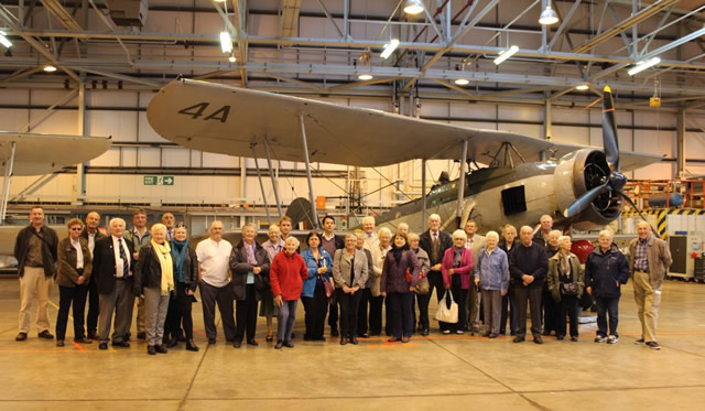 A group photo from the Wincanton branch tour of Fleet Air Arm Museum