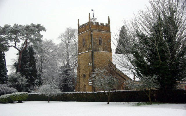 Church of St John the Baptist in Horsington in snow