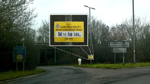 The accident witness appeal sign at Anchor Hill roundabout