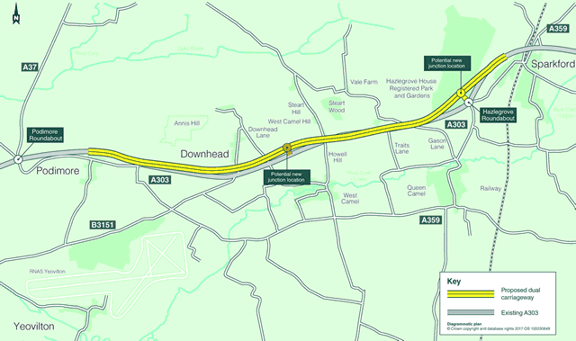 A303 dualling Sparkford to Ilchester option 1