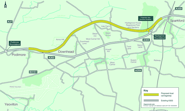 A303 dualling Sparkford to Ilchester option 2