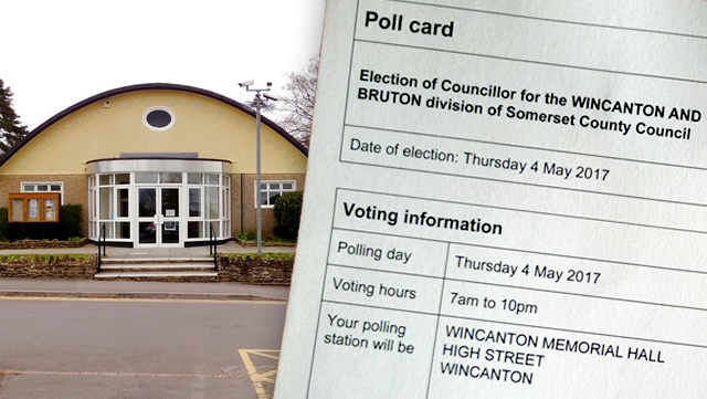 Wincanton Memorial Hall and half a county council election poll card