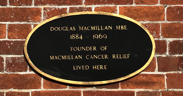 The plaque on Ochiltree House, Castle Cary, where the founder of Macmillan Cancer Relief lived