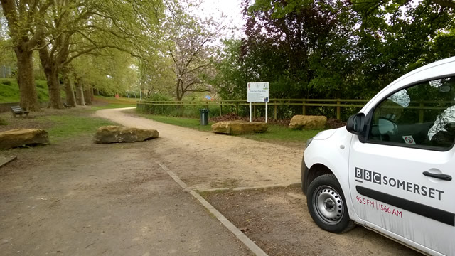 The BBC Somerset radio vehicle in the Cale Park car park