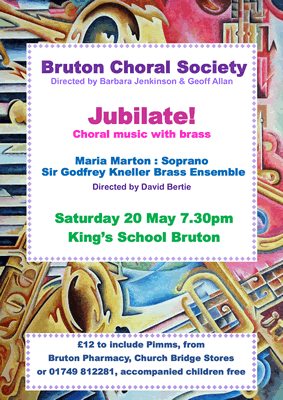 Bruton Choral Society May 2017 summer concert poster: Jubilate!