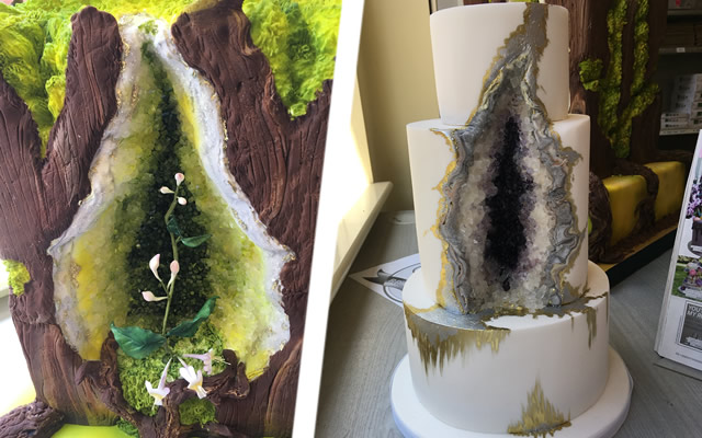Sarah Romain's designer cake creations, currently on display at Papertrees in Wincanton