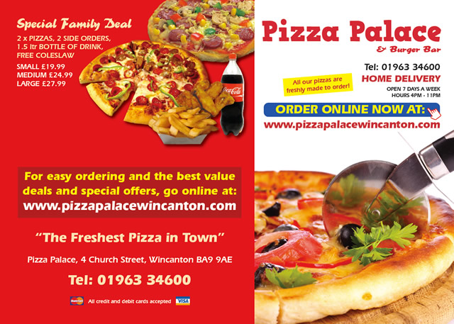 Pizza Palace & Burger Bar, Wincanton, menu page 1