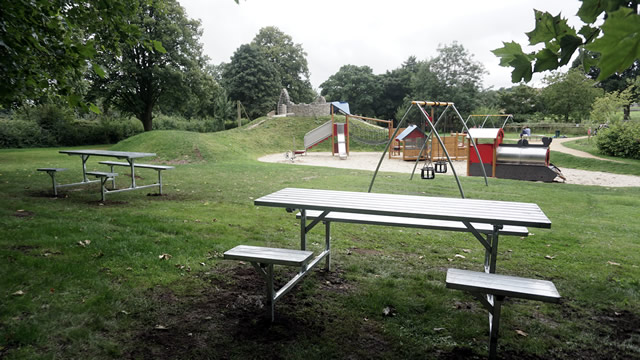 The shiny new picnic benches in the Cale Park play area