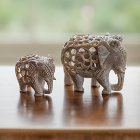 Hand Carved Soapstone Elephant £8.95 and £16.95