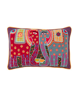 Kissing Elephants Crewel Cushion £49.95