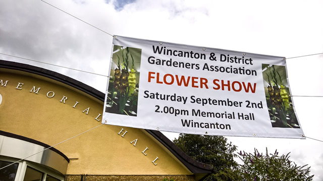 The Wincanton Gardeners' Association Flower Show 2017 banner outside Wincanton Memorial Hall
