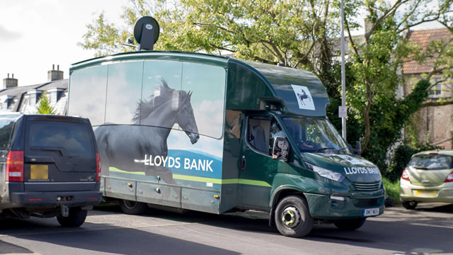 Lloyds' mobile branch, parked in the Wincanton Memorial Hall overflow car park