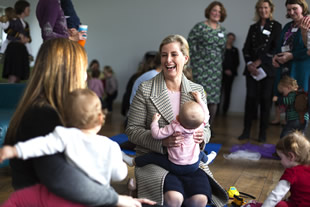 HRH The Countess of Wessex playing with children at the Balsam Centre in Wincanton - photo by Oscar Yoosefinejad