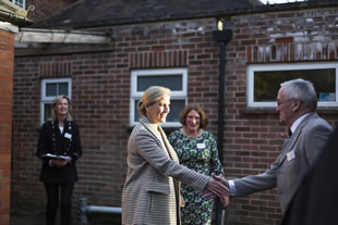 HRH The Countess of Wessex meeting men from the Men's Shed at the Balsam Centre - photo by Oscar Yoosefinejad