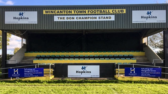 Wincanton Town Football Club's Don Champion grandstand at Wincanton Sports Ground