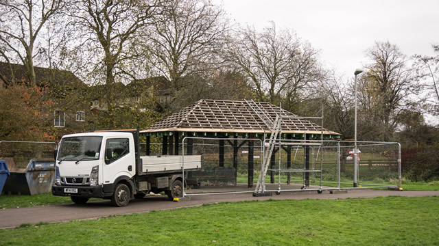 The shelter at Cale Park being dismantled