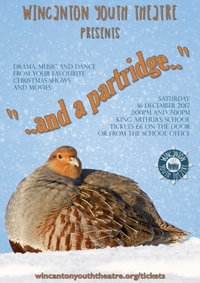"Wincanton Youth Theatre's ""...and a partridge..."" 2017 Christmas show poster"